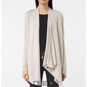 All Saints Sweaters - AllSaints Grey Asymmetrical Drina Cardigan