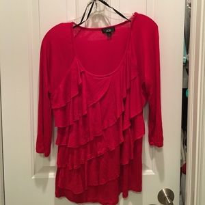 AGB Tops - AGB Ruffled Front 3/4 Sleeved Red Top