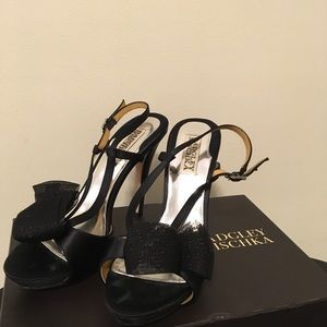 Badgley Mischka Xavier Black Satin Sandal Heels