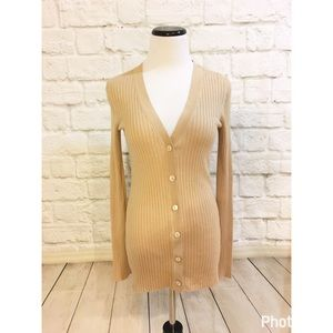 Vince Sweaters - Vince skinny rib-knit camel color cardigan