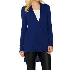H by Halston Sweaters - H by Halston blue wrap hi low cardigan