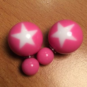 Jewelry - New Pink Star Double Ball Stud Earrings