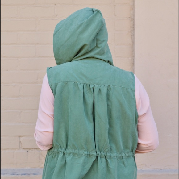 RGL Collection Jackets & Coats - Army Green Drape Front Hooded Vest