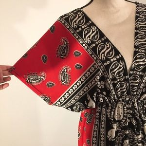 Dresses & Skirts - Red and Black Bandana Print Dress. Funky People.