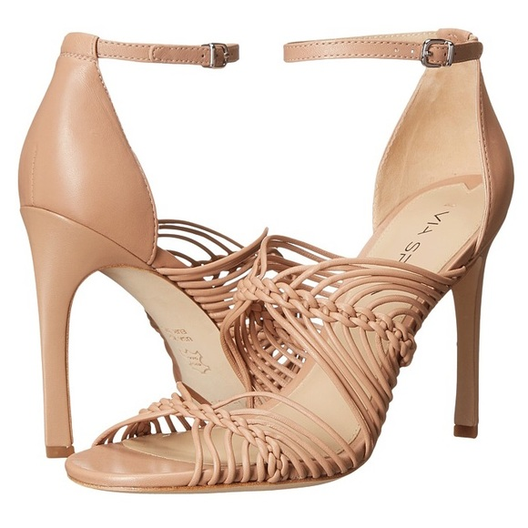 6f8224cfea9 Via Spiga nude blush Dorian leather strappy heels.  M 58a3f8965c12f84fcf0183ff