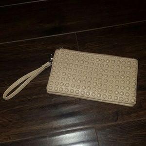 Handbags - Nude Studded Wristlet Crossbody