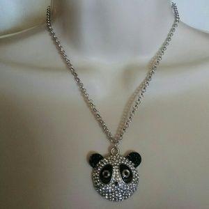 Jewelry - panda face silvertone rhinestone black necklace