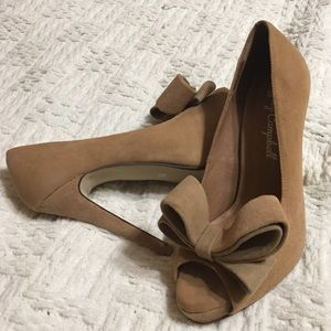 Jeffrey Campbell Shoes - Jeffrey Campbell 'Garret' Suede Nude Bow Pump