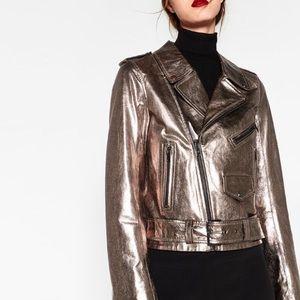 Zara cooper color metallic leather jacket -medium
