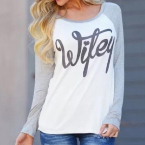 f5360d3c Boutique Tops | White Gray Wifey Baseball Tee Shirt | Poshmark