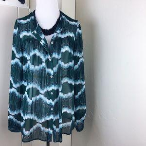 Karen Kane the woods green jade joni dressy blouse