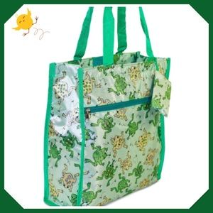 Green Frog Tote with matching coin purse