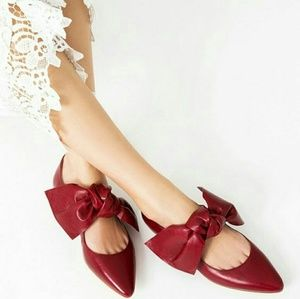 Zara Flat Leather Shoes with Bow Red 5 6424