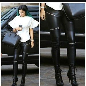 Biker Faux Leather Pants