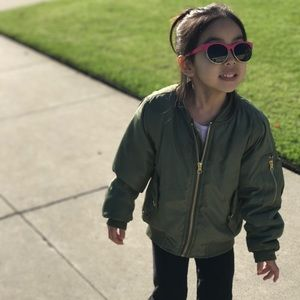 Other - Little Girls Bomber Jacket with Gold Zippers 6/6X