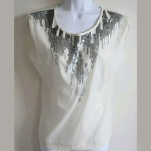 Olive & Oak Tops - Olive & Oak Ivory Sequin Blouse Size Small