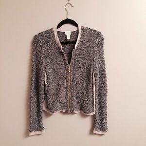 Sweaters - Gold Threaded Zipper Cardigan