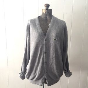 Vintage Izod Lacoste Gray Cardigan Sweater // XL
