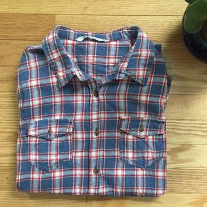 Vanilla Star Tops - Vanilla Star Red +Gray Flannel Button Down Shirt
