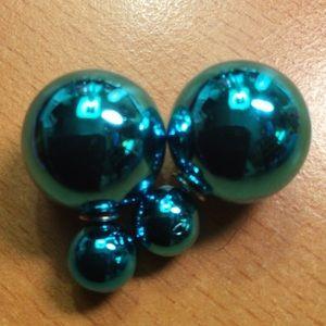 Jewelry - New Blue Metallic Double Ball Stud Earrings