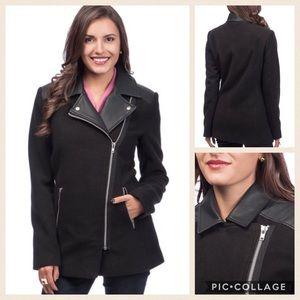 Maralyn & Me Jackets & Blazers - Women's Jacket Black Asymmetrical Zip Front Coat