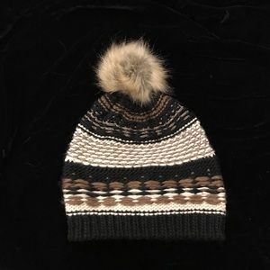 Black and Tan knit hat with fur