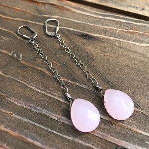 Beautiful rose quartz earrings