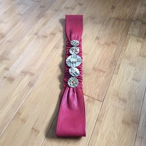 Chico's Accessories - RED LEATHER BELT GOLD/SILVER/RHINESTONES STRETCH