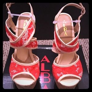 Alba Shoes - BRAND NEW! Red and cream floral wedges size 7