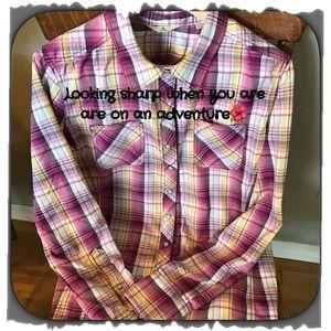 Ascend Tops - Ascend Cute purple long sleeve plaid shirt!