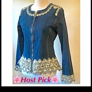 Curvy Couture Jackets & Blazers - Denim and Diamonds Zip Front Jacket Top NWT