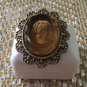 Estate Sale Jewelry - Vintage Beveled Crystal Cameo