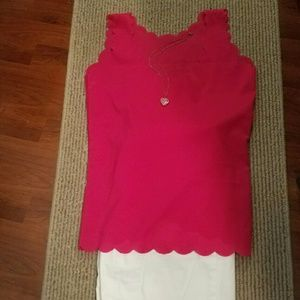 Tops - Hot Pink Scalloped Top