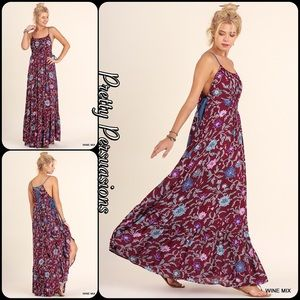 Pretty Persuasions Dresses & Skirts - Floral Lace Up Spaghetti Strap Flowy Maxi Dress
