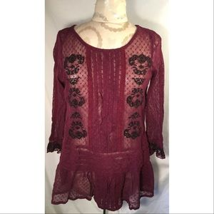 Free People Tops - FREE PEOPLE MESH EMBROIDERED RUFFLE PEPLUM TOP S
