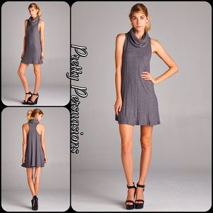 Pretty Persuasions Dresses & Skirts - Cowlneck Gray Brushed Two Toned Ribbed Knit Dress