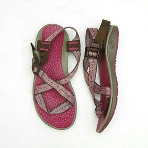 Chaco Shoes - Chacos Excellent Pink Brown Strappy Sandals