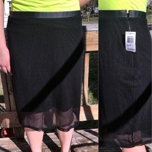 ➕ 🎉HP🎉 INC Mesh Leather Trim Skirt! NEW!