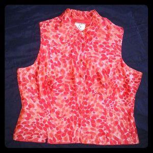 Ice Tops - Silk button down sleeveless blouse