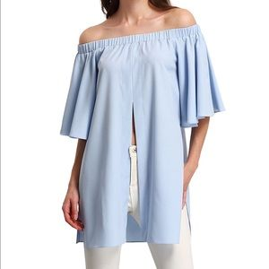 Off shoulder bell sleeves split Blouse