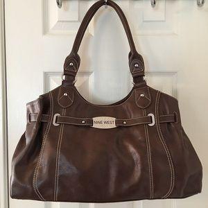 Nine West Handbags - 🛍 Nine West Brown Silver Large Shoulder Bag