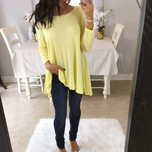 Tops - LAST 1- Yellow cascading thermal tunic top