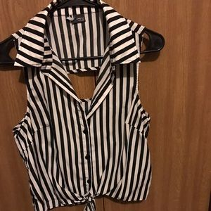 Lowered price! Black and White Stripe Crop Top
