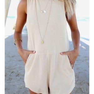 Sabo Skirt Pants - Super cute romper. Light tan.
