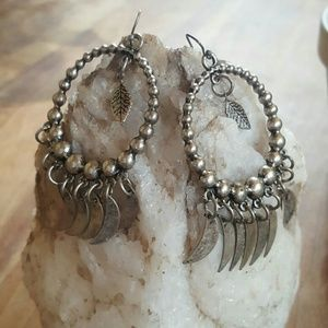 Boho Dangle Moon & Leaf Earrings