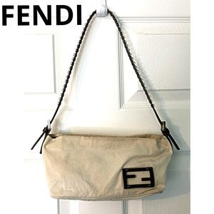 Fendi Handbags - Authentic Fendi Pouchette Baguette Khaki Brown