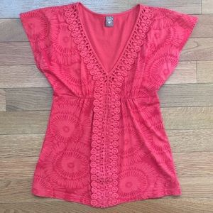 Anthropologie Language red printed V-neck tee