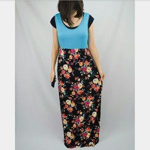 Evelynn's Boutique Dresses & Skirts - Turquoise & Black Floral Tank Top Maxi Dress