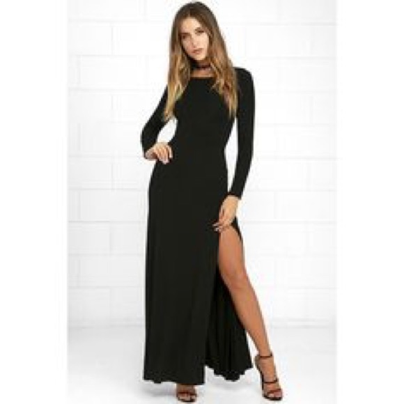 Lulus Dresses Black Long Sleeve Maxi Slit Dress Poshmark