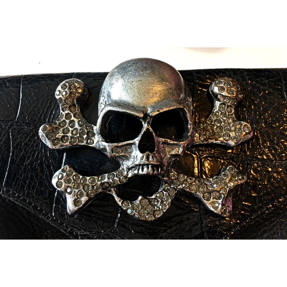 Leatherock USA Bags - Leatherock Skull CrossBody Bag Rhinestone Leather
